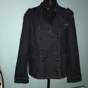Chico's dark denim military style jacket